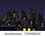 night city vector illustration. ... | Shutterstock .eps vector #719568124