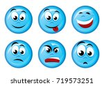 round blue  icons with emotions.... | Shutterstock .eps vector #719573251