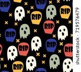 ghost and gravestone halloween... | Shutterstock .eps vector #719576479