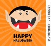 happy halloween pumpkin text.... | Shutterstock .eps vector #719580394
