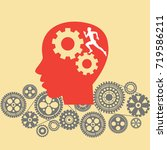human head with cogs and gears. ... | Shutterstock .eps vector #719586211