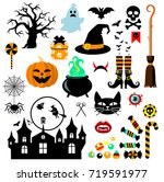 set of halloween design...   Shutterstock .eps vector #719591977