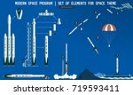 set of elements for space... | Shutterstock .eps vector #719593411