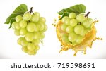 white sweet grapes and juice... | Shutterstock .eps vector #719598691