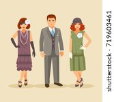 group of stylish people dressed ... | Shutterstock .eps vector #719603461
