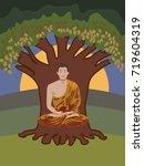 buddhist monk meditating in...   Shutterstock .eps vector #719604319