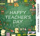 happy teachers day card. school ...   Shutterstock .eps vector #719608009