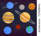 simple illustration of planets... | Shutterstock .eps vector #719608441