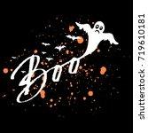 vector happy halloween dark... | Shutterstock .eps vector #719610181