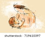 colored hand sketch nursing... | Shutterstock .eps vector #719610397