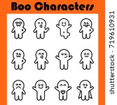 boo characters. monster big set.... | Shutterstock .eps vector #719610931