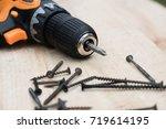 diy tools concept. many screws...   Shutterstock . vector #719614195