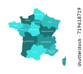 map of france divided into 13... | Shutterstock .eps vector #719618719
