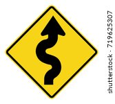 winding road sign. right... | Shutterstock .eps vector #719625307