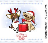 christmas and new year card... | Shutterstock .eps vector #719625895