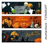 halloween greeting banner for...   Shutterstock .eps vector #719630197