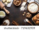 baking background. ingredients... | Shutterstock . vector #719632939