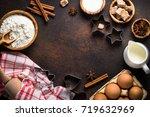 baking background. ingredients... | Shutterstock . vector #719632969