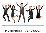business people are jumping ... | Shutterstock .eps vector #719633029