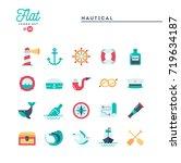 nautical  sailing  sea animals  ... | Shutterstock .eps vector #719634187