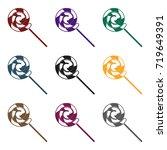 lollipop icon in black style... | Shutterstock .eps vector #719649391