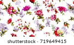 Stock vector wide seamless floral background pattern roses with rosemary and leaves pastel hand drawn vector 719649415