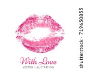 a bright pink imprint of the... | Shutterstock .eps vector #719650855