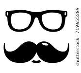 nerd glasses mustaches icon .... | Shutterstock .eps vector #719655289