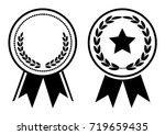 black and white award  medal... | Shutterstock .eps vector #719659435