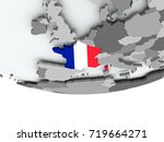 3d render of france with flag...   Shutterstock . vector #719664271