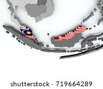 3d render of malaysia with flag ...   Shutterstock . vector #719664289