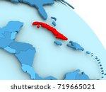 cuba highlighted on blue 3d...   Shutterstock . vector #719665021