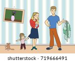 tired mom with a baby in her... | Shutterstock .eps vector #719666491