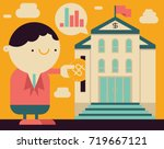 corporate person puts coin... | Shutterstock .eps vector #719667121