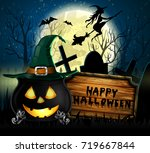 halloween spooky background | Shutterstock .eps vector #719667844