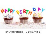 birthday cupcakes with colorul  ... | Shutterstock . vector #71967451