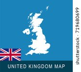 united kingdom map and flag.... | Shutterstock .eps vector #719680699