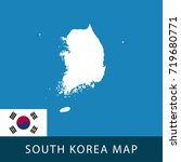 south korea map and flag.... | Shutterstock .eps vector #719680771