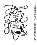 hand lettering the joy of the... | Shutterstock .eps vector #719683387