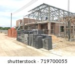 building site with new homes... | Shutterstock . vector #719700055