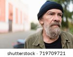 close up portrait of beardy old ... | Shutterstock . vector #719709721