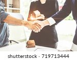 agent and customer meeting and... | Shutterstock . vector #719713444