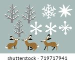 Stock vector winter material with hare winter clip art 719717941