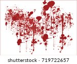 various dripping blood splashes ... | Shutterstock .eps vector #719722657