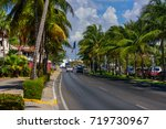 Road With Cars And Palm Trees...