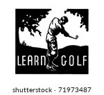 learn golf   retro ad art banner