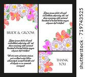 invitation with floral... | Shutterstock .eps vector #719743525
