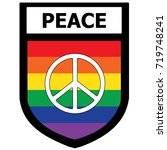 peace rainbow shield patch.... | Shutterstock .eps vector #719748241