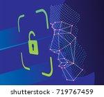 unlock face id scan vector | Shutterstock .eps vector #719767459