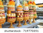 Small photo of Gebogan ( means big offering ) Gebogan are towering offerings constructed around the base of a banana trunk. offer to God in Hindu temple of Ganung Kawi Temple during hindu ceremony, Bali, Indonesia